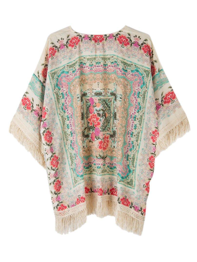 Persun Women Vintage Floral Fringe Kimono Cardigan Jacket Blouse 2