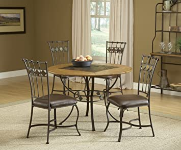 Lakeview 5 Piece Round Dining Set w/slate Chairs