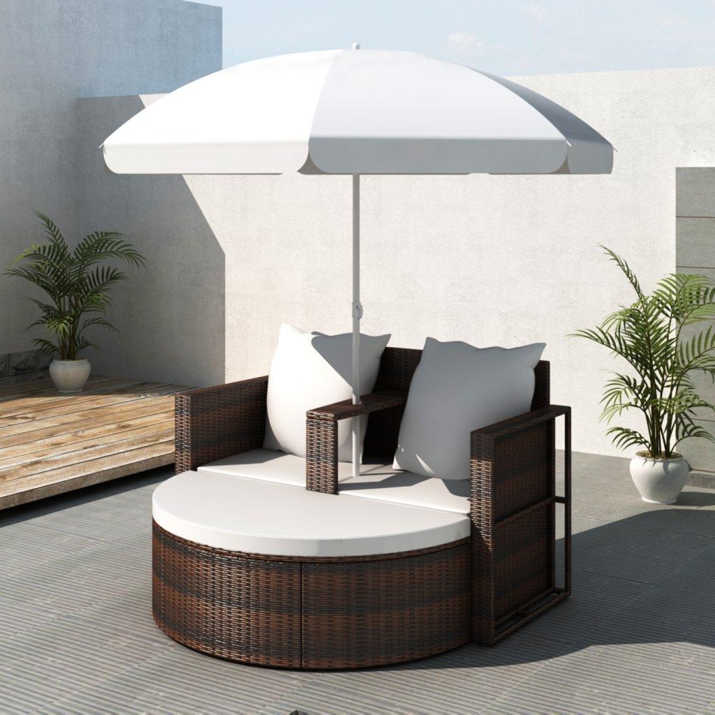 vidaXL Gartenlounge Poly Rattan Lounge Set Gartengarnitur Braun günstig bestellen