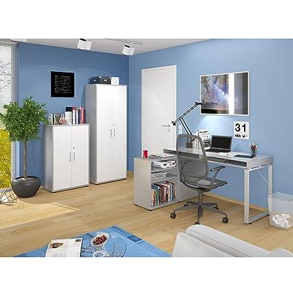 MAJA Buro Komplettset 3-teiliges Arbeitszimmer mit Schreibtisch und 2 Aktenschränken in Platingrau / Weiß
