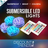 Discount Trends Submersible LED Waterproof Light RGB for Vase Wedding Party Fish Tank Decors + Remote (4) PACK (Color: Multi-Color)
