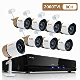 ELEC 8Channel HDMI 720P AHD DVR CCTV Home Video Security System with 8 Outdoor/Indoor 2000TVL Security Camera 1.0MP Sensor, Remote Access Home Surveillance Kit (Color: 8CH 6CAM)
