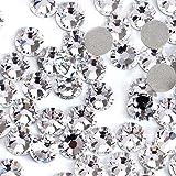 Rhinestones for Nails 2880pcs Crystal AB/Clear Crystal Flatback Glass Rhinestones Nail Art Crystals Diamond Art Round Flatback Gems Stones Austrian Crystal DIY Eye Makeup Nails (Clear Crystal ss10) (Color: Clear Crystal ss10)