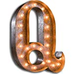 "Vintage Marquee Lights 24"" Letter Q Decorative Light - Rust"