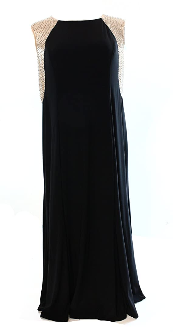 MSK Nude Cap-Sleeve Long Dress Women's Plus Sheath