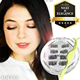 Aliceva Magnetic Eyelashes x8 [Neat & Elegance] for Natural Look - New Premium Magnet Quality/Best 3D False Reusable Eyelash 8 piece + Magnet Dot Case + Metal Eyelash Tweezers (Color: Light Blue, Tamaño: 8 pcs)