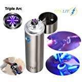 Triple Plasma Lighter- Electric Triple Arc Lighter- Flat Surface Wide Arc Design For Pipes Cigars and More -Windproof Electric Lighter- Rechargeable- Gift Box & One Year Warranty Card (Triple Arc) (Color: Triple Arc, Tamaño: Triple Arc)