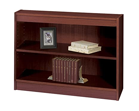 Safco Products 1501MHC Square-Edge Veneer Bookcase, 2 Shelf, Mahogany