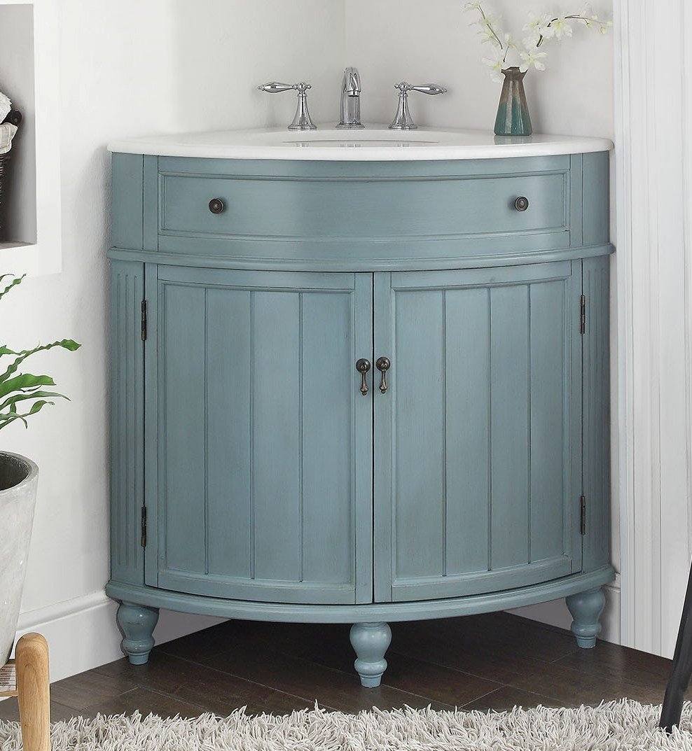 24 vintage light blue cottage style thomasville bathroom sink vanity model gd 47544bu for Bathroom vanities vintage style