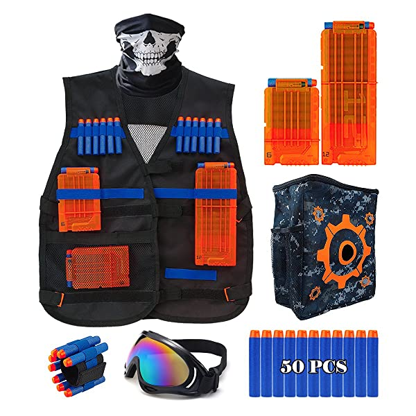 Toy GunTactical Vest Jacket For Nerf Gun Can hold Clip bottle soft bullets  over 60pcs professional player Outdoor game equipment-in Toy Guns from Toys  ...