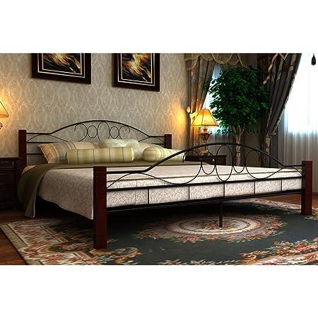 Anself Metallbett Doppelbett Ehebett Bett mit Lattenrost und Matratze180x200cm Schwarz/Rostbraun