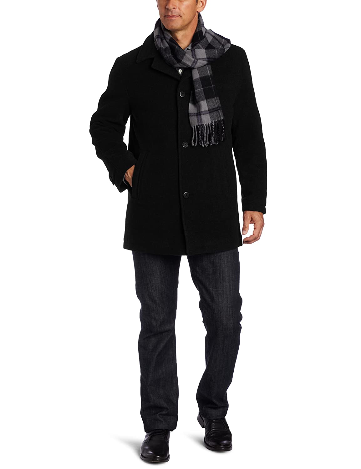 London Fog Men's Barrington Car Coat, Black, Large $50
