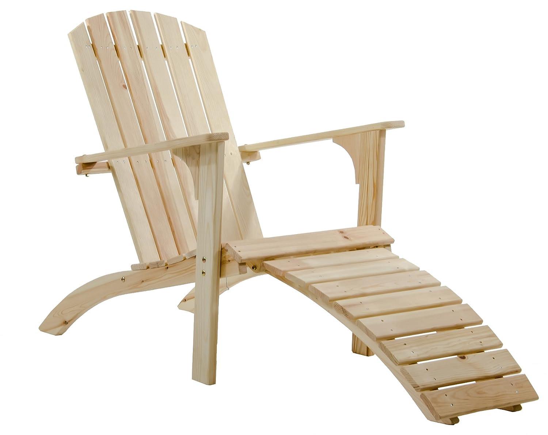 GARDENho.me Nordischer ADIRONDACK Chair Falun Massivholz, Deckchair, 5 Farbvarianten Natur