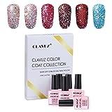 Gel Polish,CLAVUZ 6pcs Glitter Nail Polish Kit Soak Off UV LED Nail Lacquer Manicure Nail Art Tool Kit 10ML (Color: C003)