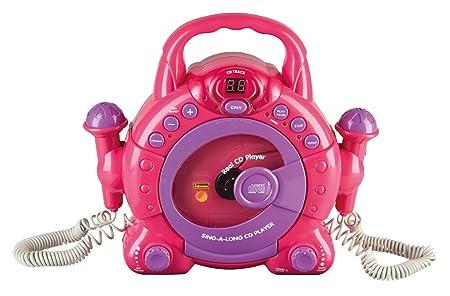 Idena 40105–Enfants Lecteur CD Sing A Long avec 2microphones et écran LED, Rose