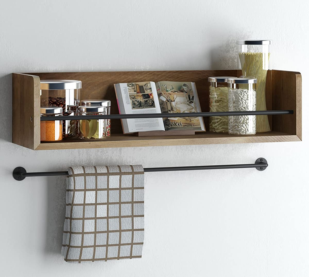 Rustic Kitchen Wood Wall Shelf with Metal Rail Also Multi Use Can Be Used As a Spice Rack Living Room or Bedroom Wall Shelf , Walnut Stained (20, Walnut)