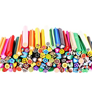 CCINEE 120 Pcs 3D Nail Art Manicure Fimo Canes Fruit Slices Rods for Nail Decal, Slime and DIY Crafts (Color: #101)