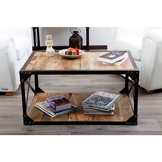 Legno Dekor x design Ferro incorniciato tavolino, mango naturale & nero, 90x 60x 45cms
