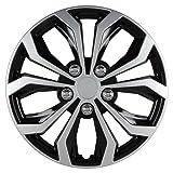 Pilot-Automotive Universal Hubcaps, Black Silver Universal Spyder Performance 15 Inch Hubcaps Set (Color: Silver, Tamaño: standard)