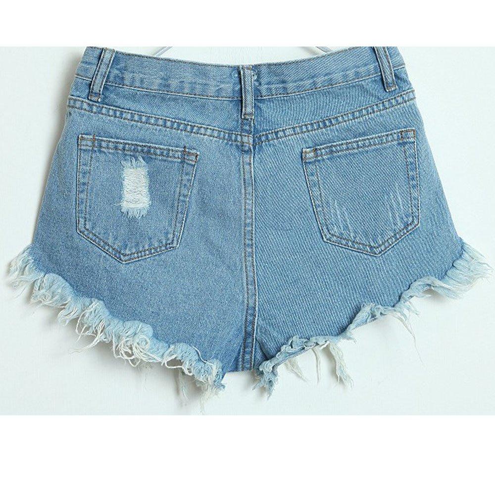 AORAEMLady Women's Punk Rock Vintage Grunge Hole Water Wash Retro Shorts Jeans 1