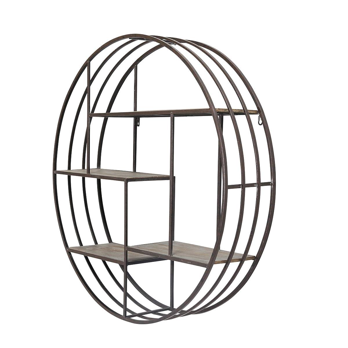 Sagebrook Home 11050 Metal & Wood Wall Shelf, Brown Metal, 31.5 x 7.25 x 31.5 Inches