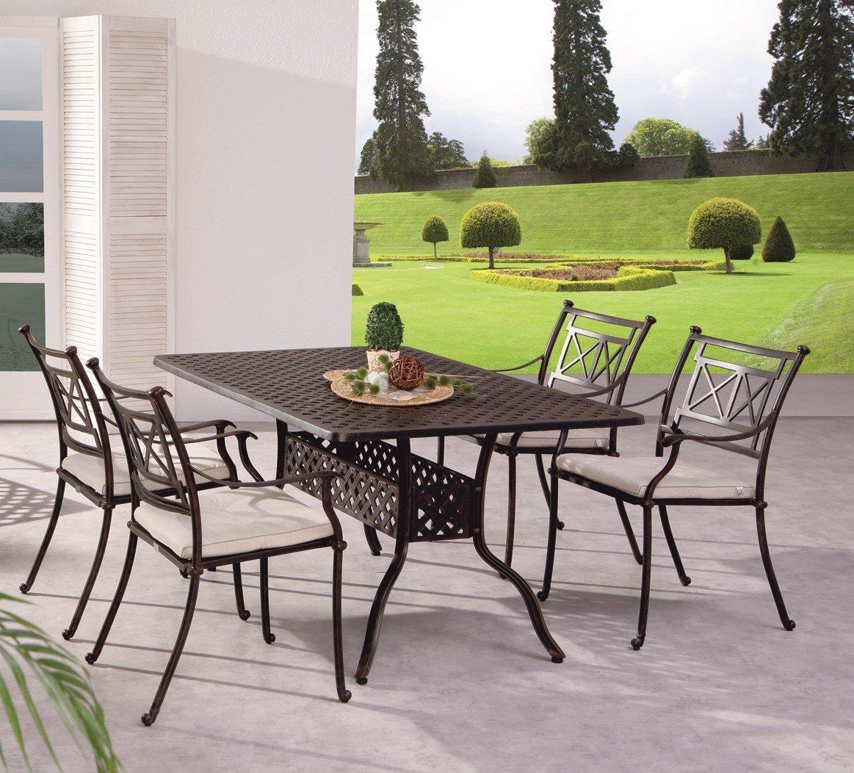 Gartengruppe Garten Set Tisch 4 Stühle Alu Guss massiv bronze weiß wetterfest, Farbe:Bronze jetzt bestellen