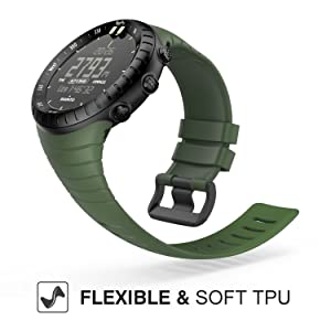 MoKo Suunto Core Watch Band, Classic Replacement Soft Wrist Band Strap with Metal Clasp for Suunto Core Smart Watch, Fits 5.51-9.06 (140mm-230mm) Wrist, Army Green (Color: Army Green)