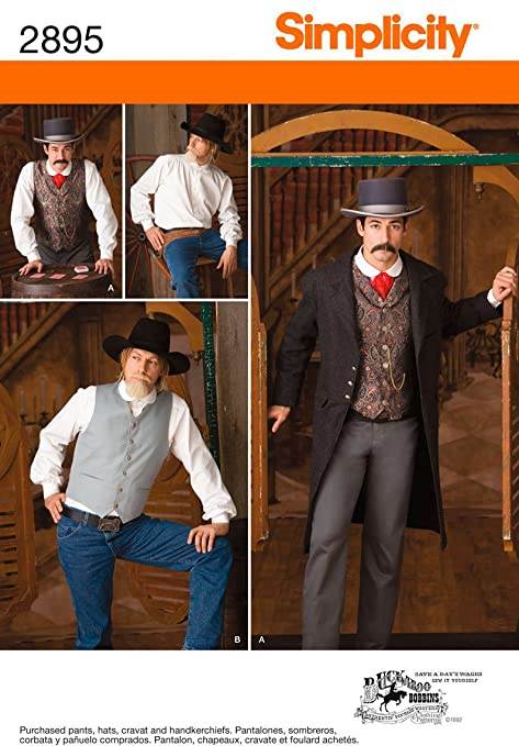 Men's Vintage Reproduction Sewing Patterns  Mens Gambler Costume Sizes Chest 38-40-42-44 $3.25 AT vintagedancer.com