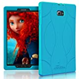 Armera Samsung Galaxy Tab A 10.1 Case (SM-T580), High Impact Resistant Slim Heavy Duty Anti Slip Light Weight Kids Friendly Shockproof Protective Rugged Silicone Cover (Soft Wave - Turquoise)