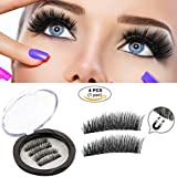 Magnetic False Eyelashes, Glue Free False Lashes, Ultra-thin 0.2mm 3D Dual Magnet Reusable and Handmade Fake Eyelashes Prime Set (4 pcs 1 pair)