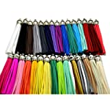 Pamir Tong 30pcs/lot Leather Tassel Cell Phone Straps DIY Earring/Necklace Charms (Silver Caps) (Color: Silver Caps, Tamaño: 85mm)