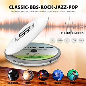 Portable CD Player with Bluetooth, Personal CD Player with Headphone, Anti-Skip/Shockproof Protection Compact CD Music Disc Walkman Player with LCD Display for Adults Students Kids (Color: White)