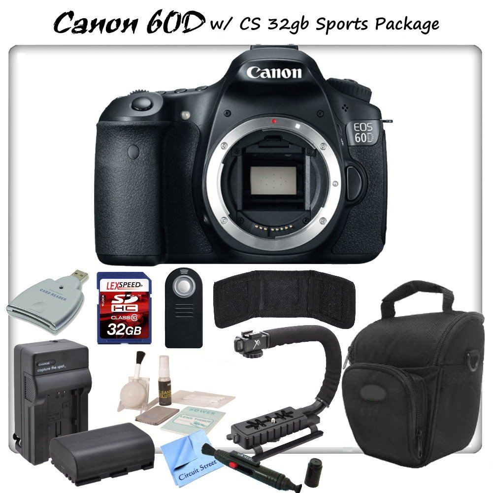 Canon EOS 60D Digital SLR Camera Body with CS Sports Package: Includes High Speed 32GB SDHC Memory Card, SD Card Reader ..