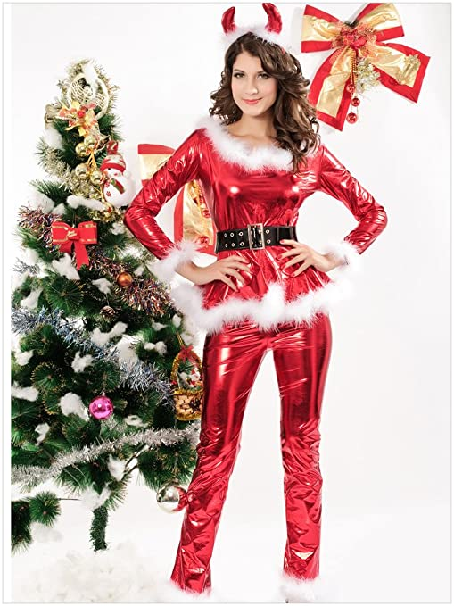 Dear-lover Women Sexy PVC Trousers Bronzing Christmas Costumes