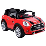 Costzon Ride On Car, Licensed BMW Mini Cooper Electric Car, 12V Battery Powered Kids Vehicle with Manual/Parental Remote Control Modes, MP3 Port, Headlights, Music, High/Slow Speeds (Red) (Color: Red, Tamaño: 43