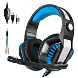 Gaming Headset, Beexcellent Over-ear Stereo Bass Wired Hi-Fi Gaming Headphones USB&3.5mm Noise Reduction with Microphone & LED Light for Laptop/Tablet/Mobile Phones/PS4 - Black+Blue