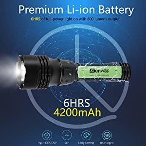 Genwiss Scuba Diving Led Flashlight Underwater Torch Holder 3000 Lumen XML T6 Adjustable Focus Waterproof Light with Rechargeable 18650 Battery Charger for Under Water Deep Sea Cave at Night