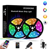 Bluetooth LED Strip Lights Music Sync 32.8Ft/10M, VEGASIGNS RGB Strip Lights Color Changing Tape Lights SMD 5050 with Smart Phone APP Control for Bedroom TV Bar Party and Home Decoration (Color: Rgb (Red, Green, Blue), Tamaño: 32ft/10M)