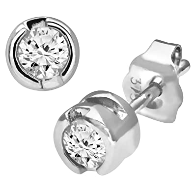 Naava 9ct Rub Set Quarter Carat Diamond Earrings