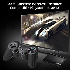 YU33 PS3 Controller Wireless 2 Pack - Dualshock 3 Games Remote for Playstation 3,Cheap DS3 Joystick with Sixaxis,Mini USB Charger Cable (White+Black) (Color: White + Black)