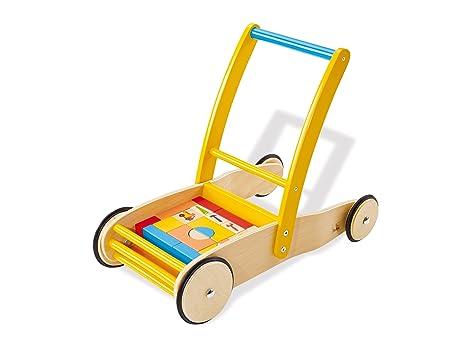 PINOLINO - Chariot Bodo, chariot d'aide à la marche en bois, avec cubes