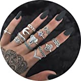 13 Pcs Vintage Women Mid Ring Set Flower Moon Rhinestone Joint Knuckle Nail Midi Ring Set …