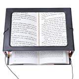 Hands-Free Magnifying Glass Large Full-Page Rectangular 3X Magnifier LED Lighted Illuminated Foldable Desktop Portable for Elder Kids (Color: Black, Tamaño: large)