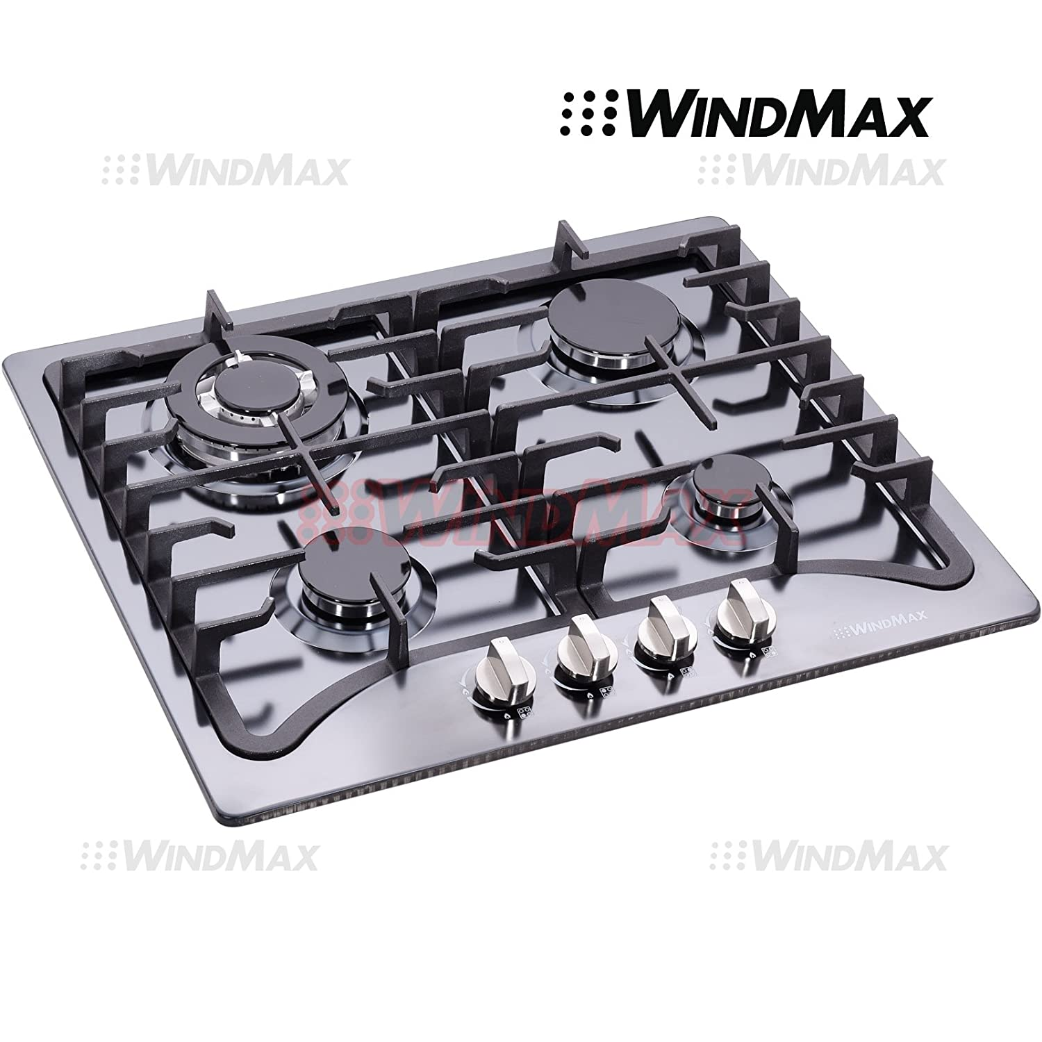 "WindMax® 23"" Black Titanium Stainless Steel 4 Burner Built-In Stove LPG/NG Gas Cooktops Cooker"