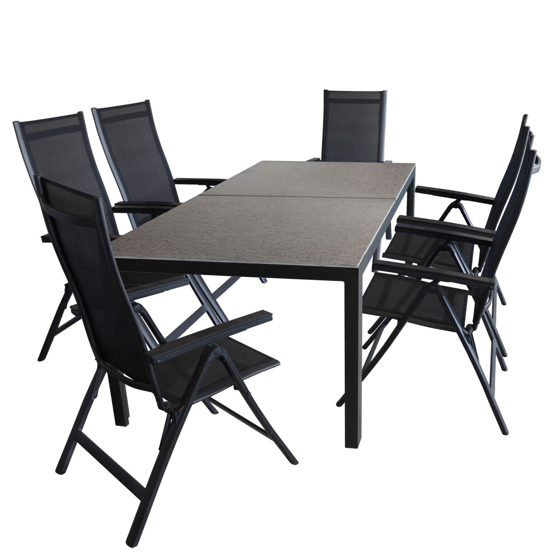 7tlg Gartengarnitur - Gartentisch mit Keramiktischplatte 202x100cm Marmoroptik +6x Hochlehner, Rückenlehne 6-fach verstellbar, 4x4 Textilenbespannung - Gartenmöbel Set, Sitzgruppe, Sitzgarnitur