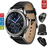 Samsung Gear S3 Classic Bluetooth Watch with Built-in GPS Silver (SM-R770NZSAXAR) with Wireless Charger Bundle + Wrist Band Silver + 1 Year Extended Warranty (Color: Silver)