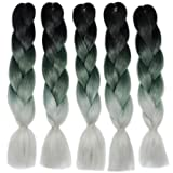 Fani Ombre Kanekalon Braiding Hair Extensions Three Tone Synthetic Crochet Braid Hair High Temperature Fiber Crochet Twist Braids 24Inch 5Pcs/Lot 100g/Pc Black/Green/Gray