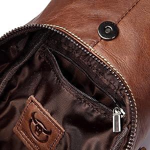 988748a30a ThinkMax Mens Genuine Leather Sling Bag Single Shoulder Bag Men Chest  Crossbody Satchel Waist Pack Black ...