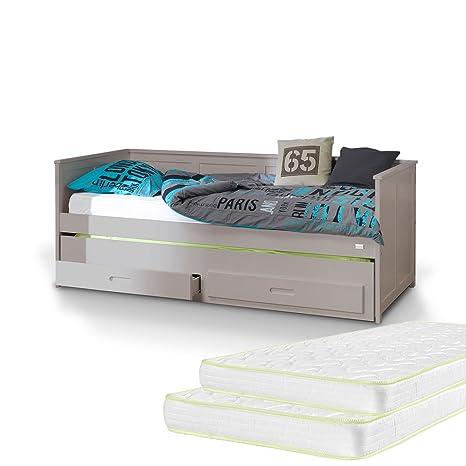 Letto Estraibile con cassetto letto 90x 200e materasso–Lino