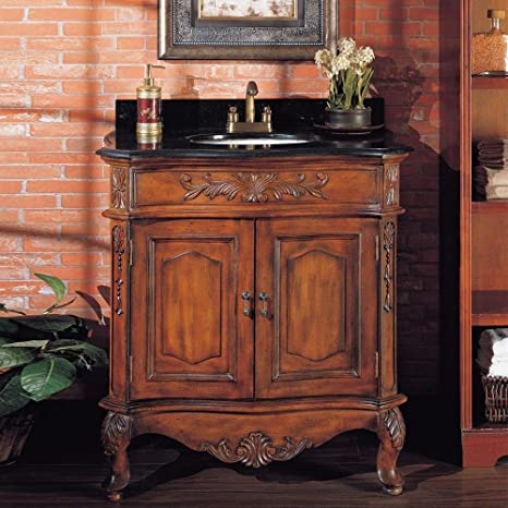 1PerfectChoice Antique Henry Bathroom Sink Cabinet Black Granite Top Ebony Counter Top Cherry